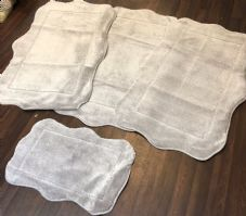 ROMANY WASHABLES NEW CORINA DESIGN SETS OF4 MATS XL SIZES 100X140CM SILVER RUGS
